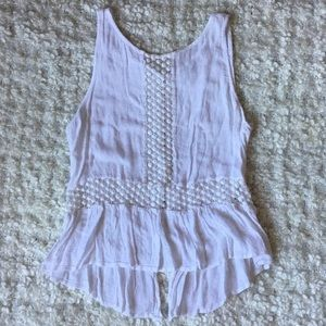 Forever 21 sleeveless button up blouse with lace